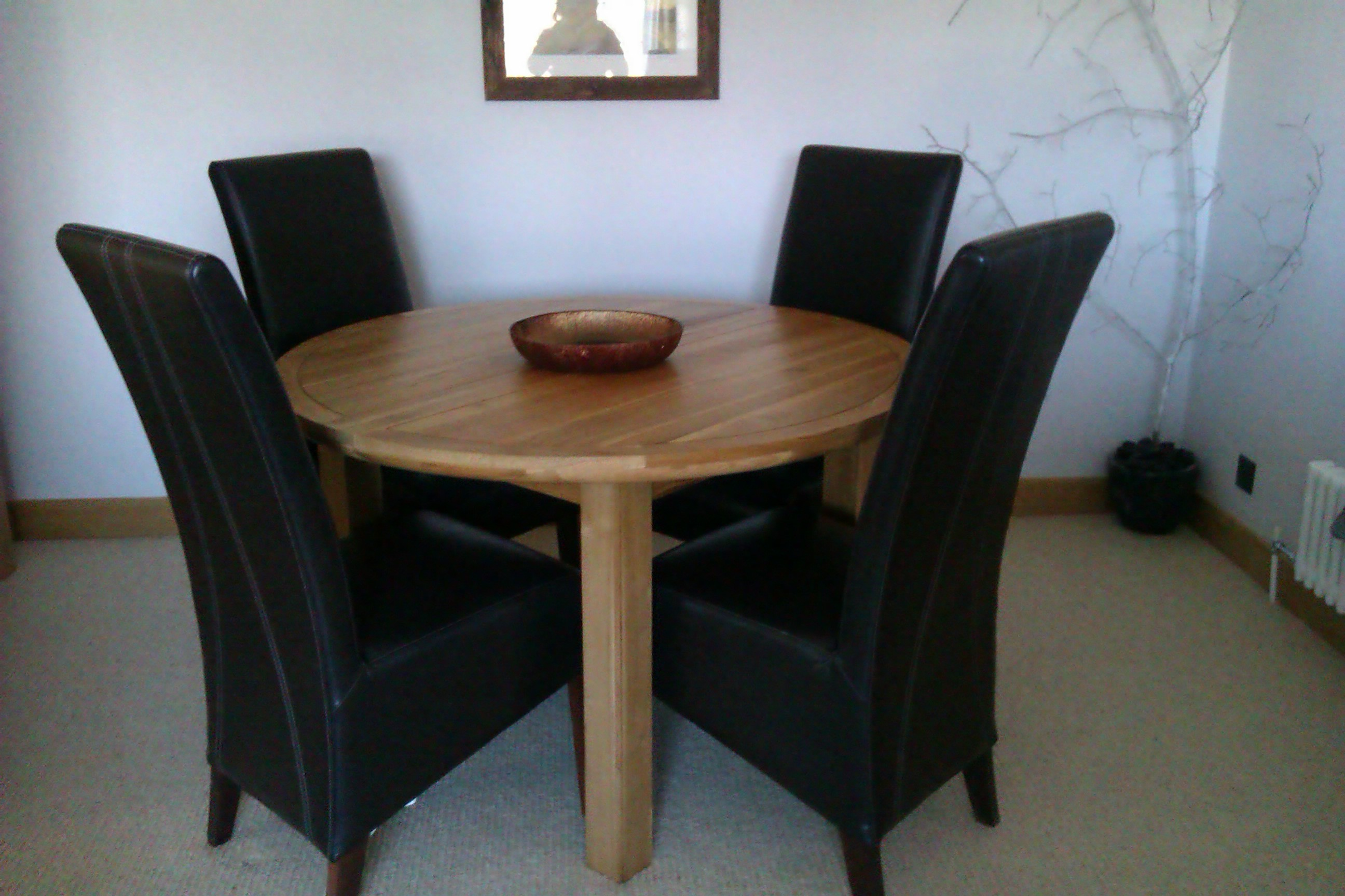 6 Brown Leather High Back Dining Chairs